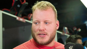 Montreal Alouettes' Luc Brodeur-Jourdain speaks to reporters as they team cleans out their lockers in Montreal, Saturday, November 4, 2017. THE CANADIAN PRESS/Graham Hughes