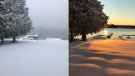 Snow on a dock on Dec. 1 and Dec. 2.