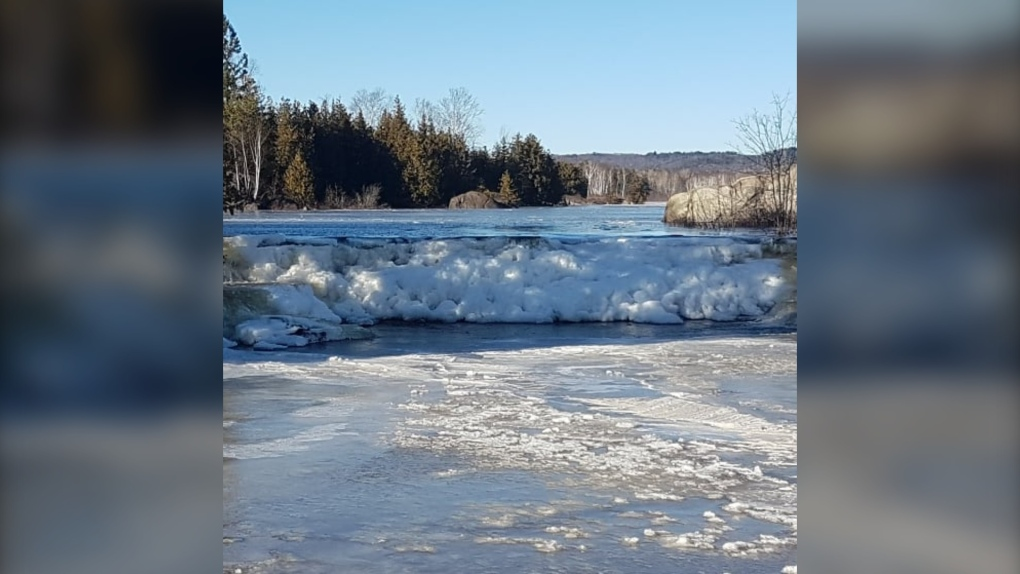 Ice jam formed on Vermillion River in Capreol