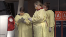 Health care staff conduct COVID-19 testing at the RVH clinic in Barrie, Ont. (Mike Arsalides/CTV News)