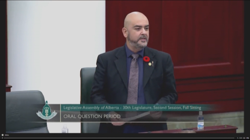 Edmonton-Ellerslie MLA Rod Loyola tested positive for COVID-19 on Tuesday, Dec. 1. (Question Period)