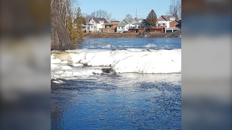 An ice jam formed overnight on the Vermillion Rive