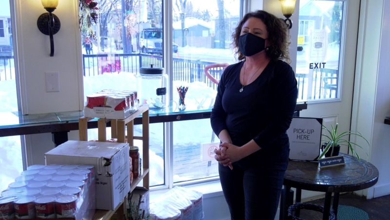 Tania Friesen says City Perks is making use of empty space to help those less fortunate this holiday season. (Francois Biber/CTV Saskatoon)