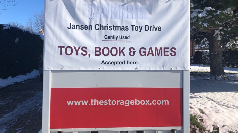 A storage bin for toys donated to the Jansen family's collection drive is seen in London, Ont. on Wednesday, Dec. 2, 2020. (Jordyn Read / CTV News)