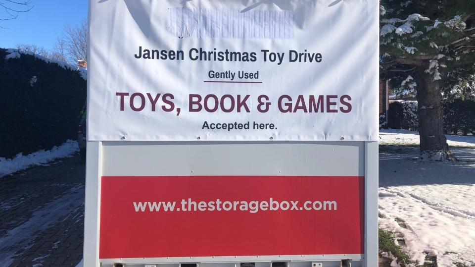 Christmas toy drive bin