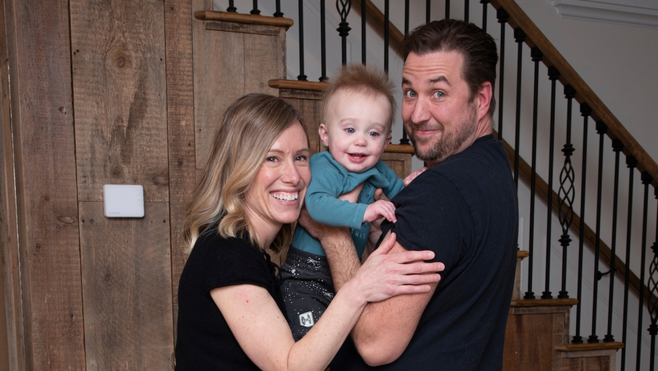 Parents Amanda Sully and Adam Deschamps, with Aiden. (Photo courtesy: CHEO)