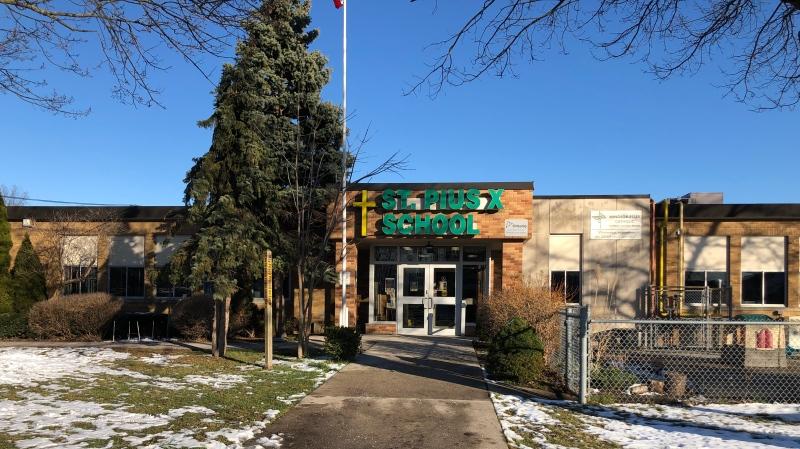 St. Pius X Catholic Elementary School in Tecumseh, Ont. on Wednesday, Dec. 2, 2020. (CTV Windsor)