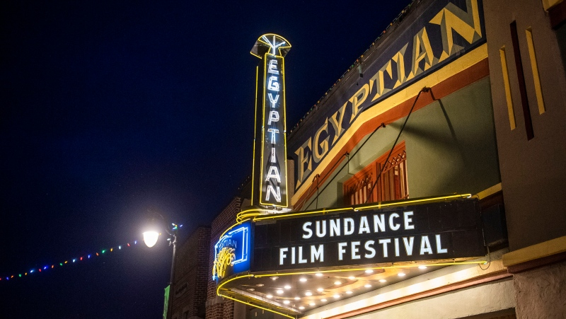 The marquee of the Egyptian Theatre promotes the 2020 Sundance Film Festival in Park City, Utah on Jan. 28, 2020. (Photo by Arthur Mola/Invision/AP, File)