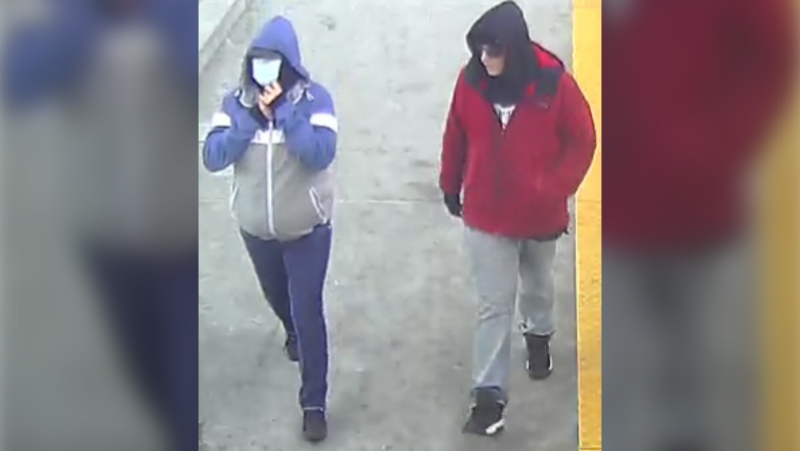 Police are looking to identify two suspects after a senior was robbed and assaulted on Nov.24. (Supplied)