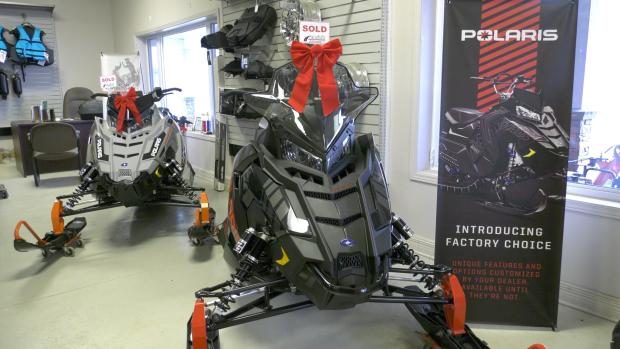 Crossing Road and Trail in Prescott has seen demand soar for snowmobiles ahead of the winter season. (Nate Vandermeer/CTV News Ottawa)