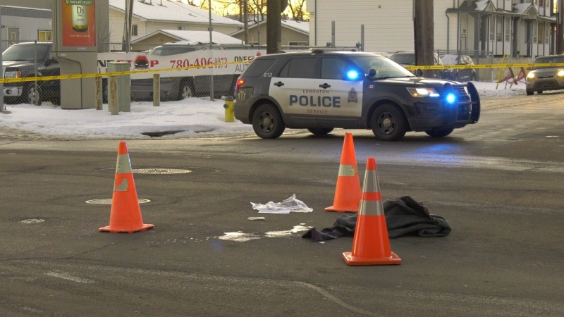 A pedestrian was taken to hospital after a crash at 128 Avenue and 66 Street on Dec. 2, 2020.