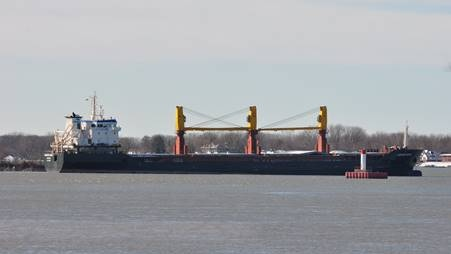 Cargo vessel anchored in the Detroit River in Windsor, Ont. on Wednesday, Dec. 2, 2020. (courtesy Grant Shenker)