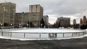 The Sens Rink of Dreams at Ottawa City Hall will open for the winter on Friday, Dec. 4. (Michael Woods/CTV News Ottawa)