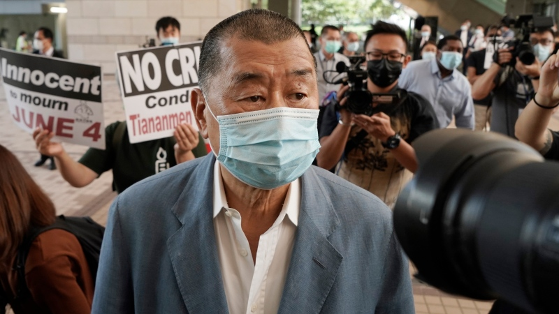 In this Thursday, Oct. 15, 2020 photo, Jimmy Lai arrives at a court in Hong Kong. (AP Photo/Kin Cheung)