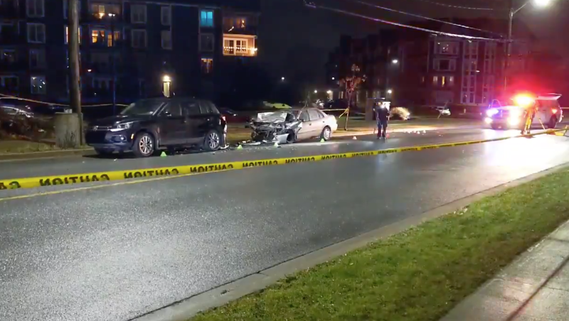 Two are in hospital with serious injuries and a driver is facing charges after police say a car rear-ended an SUV on Larry Uteck Blvd. Wednesday night. (Photo via CTV Atlantic's Maria Marteli).