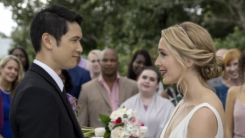 "Harry Shum Jr. and Jessica Rothe are shown in the film ""All My Life."" (Universal Pictures)"