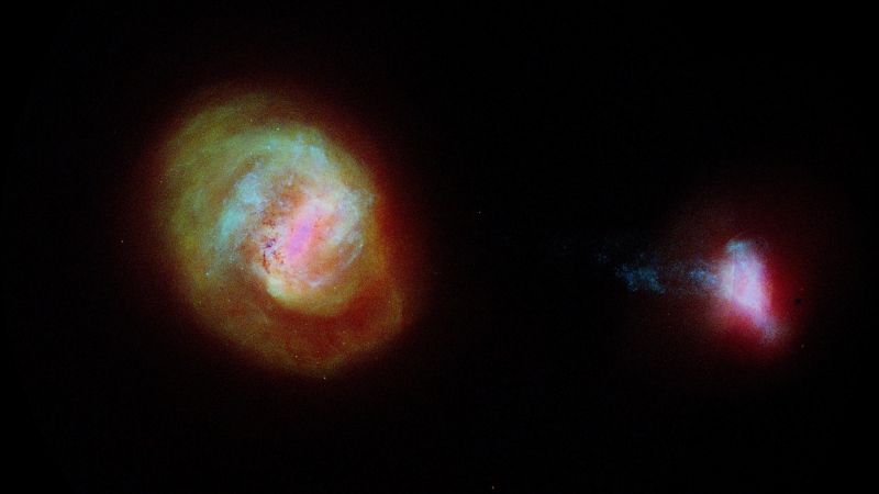 A diagram of the two most important companion galaxies to the Milky Way, the Large Magellanic Cloud or LMC (left) and the Small Magellanic Cloud (SMC) made using data from the European Space Agency Gaia satellite. (Laurent Chemin/ESA/Gaia/DPAC)