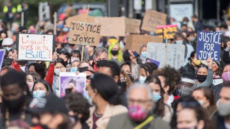 People take part in a protest called 'Justice for Joyce' in Montreal, Saturday, October 3, 2020, where they demanded Justice for Joyce Echaquan and an end to all systemic racism. THE CANADIAN PRESS/Graham Hughes