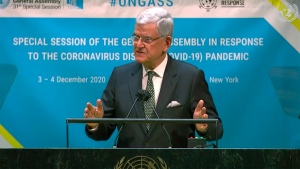 In this image made from UNTV video, United Nations General Assembly President Volkan Bozkir speaks during the UN General Assembly's special session to discuss the response to COVID-19 and the best path to recovery from the pandemic, Thursday, Dec. 3, 2020, at UN headquarters, in New York. (UNTV via AP)
