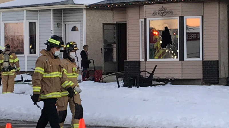 Crews were on scene at a home near 184 St and 72 Ave on Dec 3, 2020. (Matt Marshall / CTV)