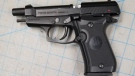 Mounties also found this compressed air-powered handgun under the vehicle's front seat, police said. (RCMP)