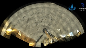 This image taken by panoramic camera aboard the lander-ascender combination of Chang'e-5 spacecraft provided by China National Space Administration shows a moon surface after it landed on the moon on Wednesday, Dec. 2, 2020. (China National Space Administration/Xinhua via AP)