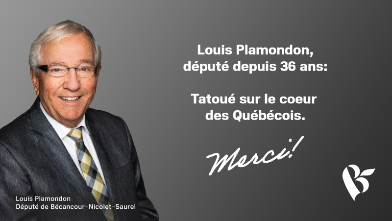 From Brian Mulroney to Yves Francois-Blanchet, Louis Plamondon has been a constant figure in Canada's House of Commons. SOURCE: Bloc Quebecois
