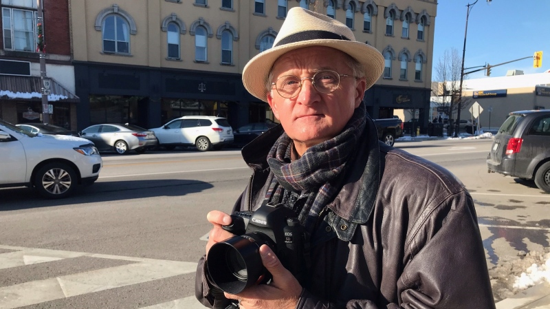 Freelance photographer Russ Salamon in downtown Tillsonburg, Ont. on Thursday, Dec. 3, 2020. (Sean Irvine CTV News).