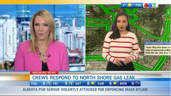 Headlines, gas leak West Vancouver
