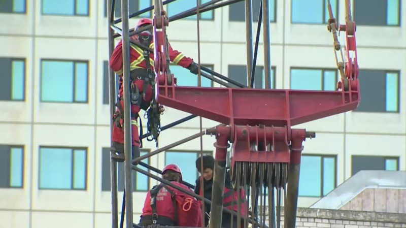 Woman charged after climbing crane