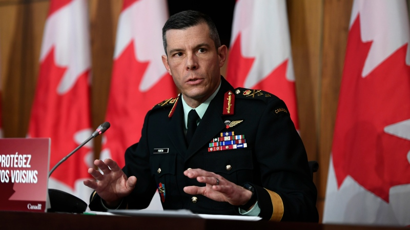 Maj.-Gen. Dany Fortin, Vice-President of Logistics and Operations at the Public Health Agency of Canada, speaks during a technical briefing on the roll-out of COVID-19 vaccines, in Ottawa, on Thursday, Dec. 3, 2020. THE CANADIAN PRESS/Justin Tang