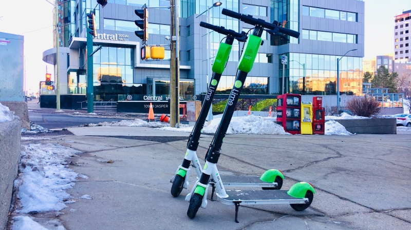 Lime put 80 e-scooters on Edmonton roads on Dec. 3, 2020, as temperatures stay above 0 C. (Evan Klippenstein/CTV News Edmonton)