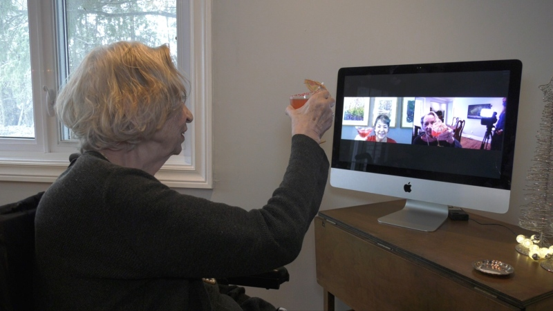 "Donna Calcutt-Andrew has created ""Cocktails with Grandma,"" a virtual meetup paired with a cocktail hour. (Leah Larocque/CTV News Ottawa)"