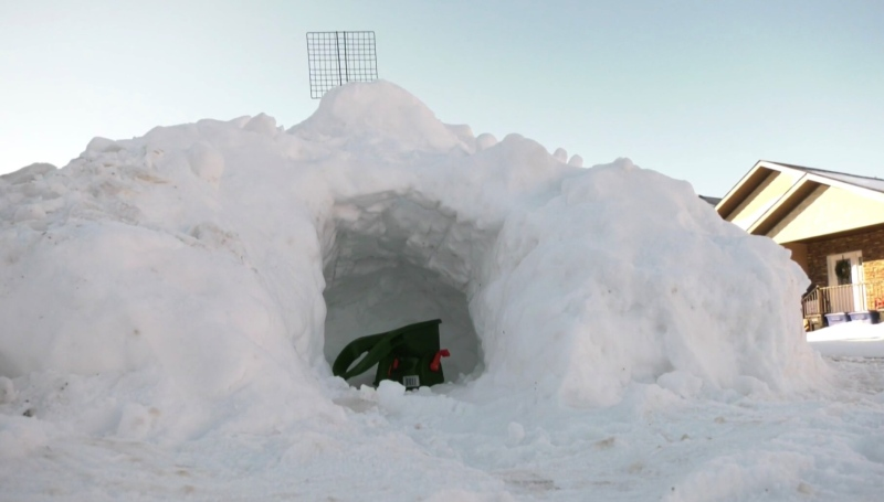 A snow fort in the Willowgrove neighbourhood is pictured Dec. 3, 2020. (Andrew Mareschal/CTV Saskatoon)