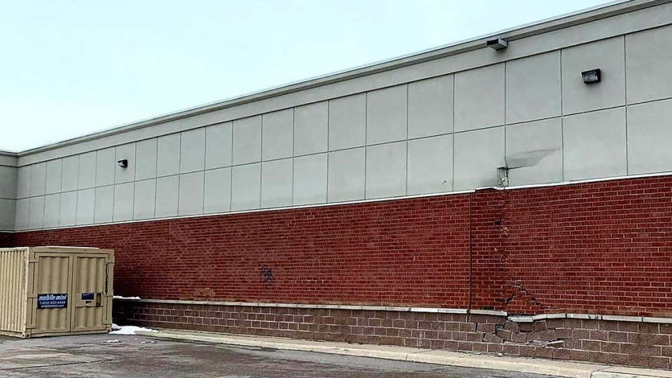 An exterior wall is significantly damaged at a drug store in Innisfil on Thurs., Dec. 3, 2020. (South Simcoe Police)