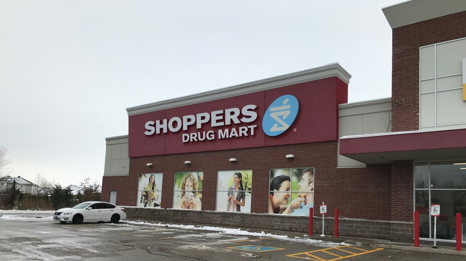Shoppers Drug Mart in Innisfil, Ont., had to close on Thurs., Dec. 3, 2020, after a tractor-trailer crashed into an exterior wall. (Jim Holmes/CTV News)