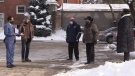 Members of Multicultural Association of Perth-Huron talk outside Falstaff Centre in Stratford (Scott Miller / CTV News)
