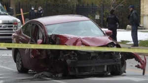 The scene of a fatal collision on Lakeshore Road in Oakville is pictured Thursday December 3, 2020.