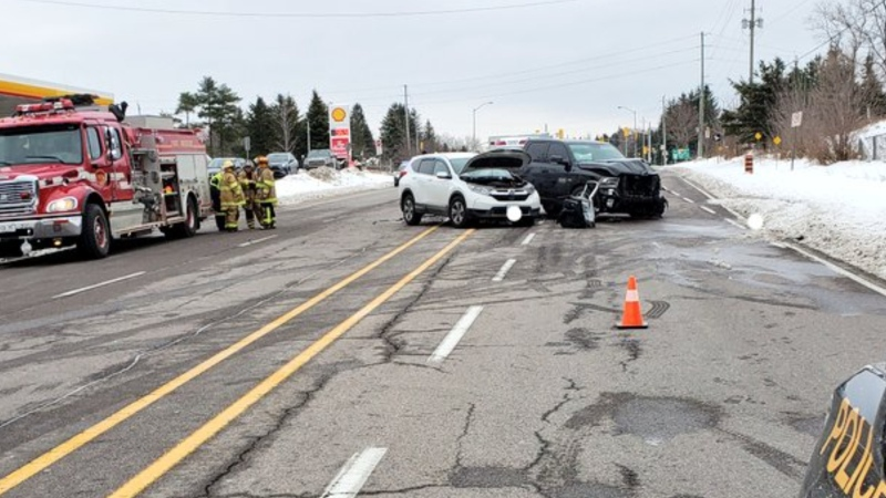A fatal collision involving a white SUV and black pickup truck on Highway 9 west of Airport Road in Caledon, Ont., is under investigation. (Supplied)