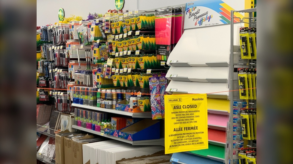 School supplies blocked off at the Dollar Store as it is not considered an essential item under the current health orders. Dec. 3, 2020. (Source: Scott Andersson/CTV News)