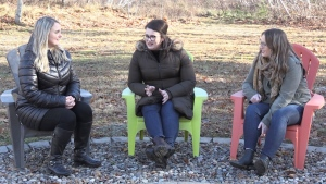 From left, Leah Profitt, Nadea Melenchuk and Lacey Conrad have started a movemnt to commemorate their mom and try to help solve her murder. (CTV ATLANTIC / NATASHA PACE)