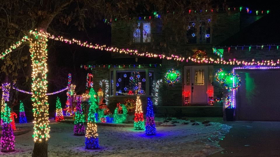Paula Paterson's neighbour goes all out when it comes to holiday decorating. The house along Shorecrest Drive is an impressive Christmas spectacle for those driving-by. (Source: Jamie Dowsett/ CTV News Winnipeg)