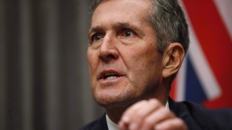 Manitoba Premier Brian Pallister speaks to media after the reading of the throne speech at the Manitoba Legislature in Winnipeg, Tuesday, Nov. 20, 2018. Manitoba Premier Brian Pallister is not going to share the excise tax on cannabis with municipalities, and has signalled that fiscal restraint with municipal transfers will continue. THE CANADIAN PRESS/John Woods