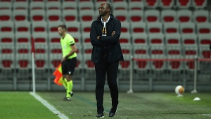 Nice's head coach Patrick Vieira looks on during the Europa League Group C soccer match between OGC Nice and Hapoel Beer-Sheva at the Allianz Riviera stadium in Nice, France, on Oct. 29, 2020. (Daniel Cole / AP)