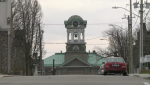 A view of the clock and bell tower at Brockville city hall from Victoria Street. (Nate Vandermeer/CTV News Ottawa)
