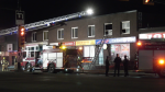 Fire crews on the scene of an apartment fire in the 4200 block of 17 Ave. S.E. Thursday night