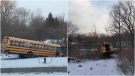 Two empty school buses were found partially submerged in ponds in Vaughan, Ont. Thursday. (York Regional Police)