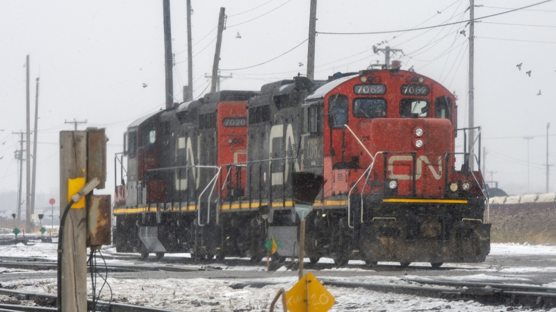Locomotives sit idle in the railyard as Canadian National Railway workers begin a nationwide strike, Tuesday, November 19, 2019 in Montreal. THE CANADIAN PRESS/Ryan Remiorz