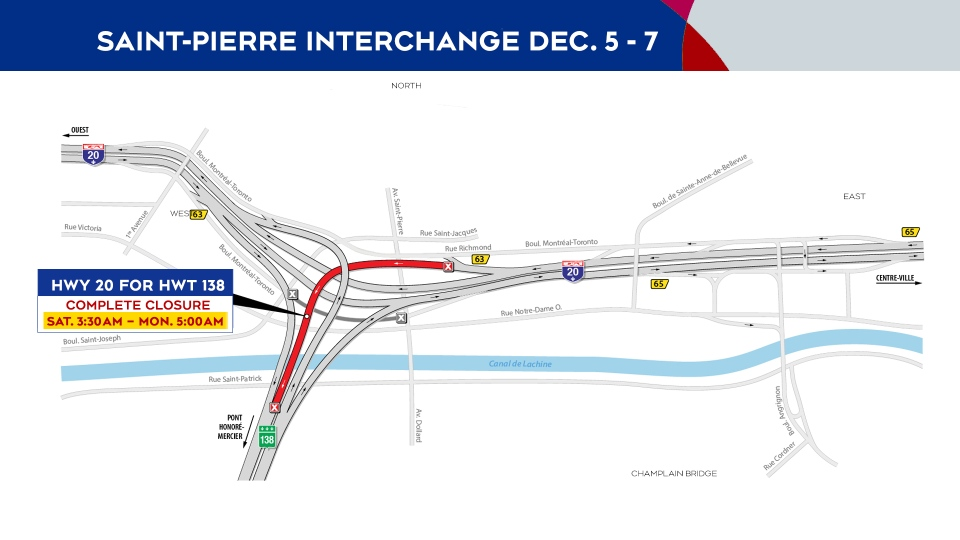 Saint-Pierre Interchange closures Dec. 5-7
