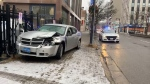 Man arrested following a crash on Cedar Street in downtown Sudbury. Dec. 4/20 (Kent Guindon/CTV Northern Ontario)